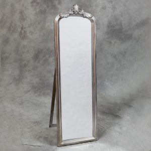 Tall Silver Slim Crested Dressing Mirror