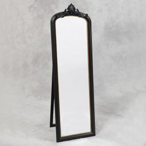 Tall Black and Gold Slim Crested Dressing Mirror