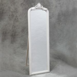 Tall White Slim Crested Dressing Mirror