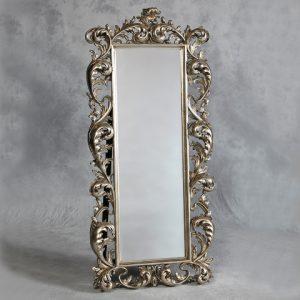 Silver Rococo Cheval Dressing Mirror