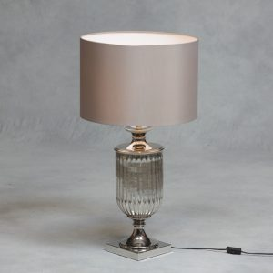 Antiqued Glass Urn Lamp with Taupe Cylinder Shade