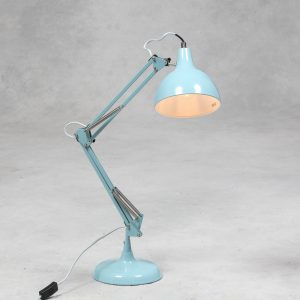 Sky Blue Traditional Large Desk Lamp (Grey Fabric Flex)