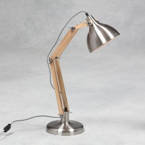 Brushed Steel with Wooden Arms Traditional Desk Lamp (Black & White Fabric Flex)