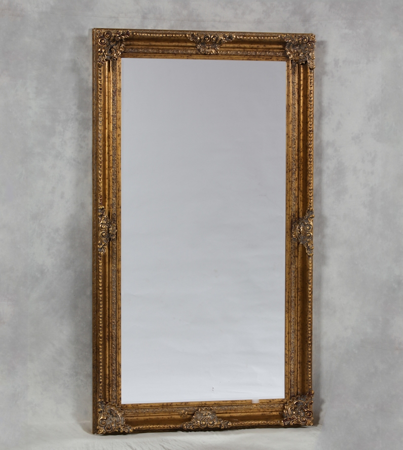 Extra large gold rectangular classic mirror the house in for Extra large mirrors