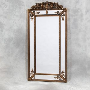 Tall Gold French with Crest Mirror