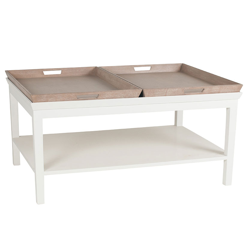 Antique White Mango Wood 2 Tray Coffee Table The House In Town