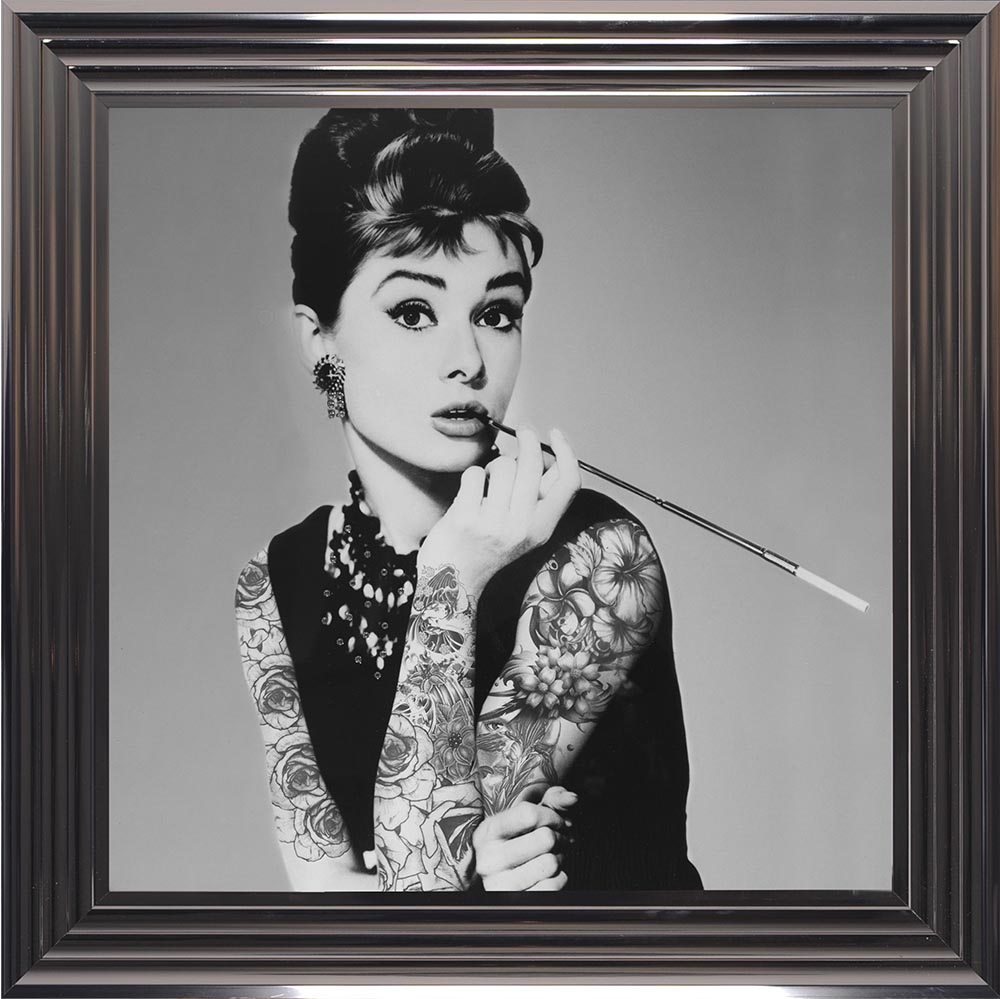 75 x 75 cm Framed Audrey Hepburn with Tattoos. Various Frame Colours ...