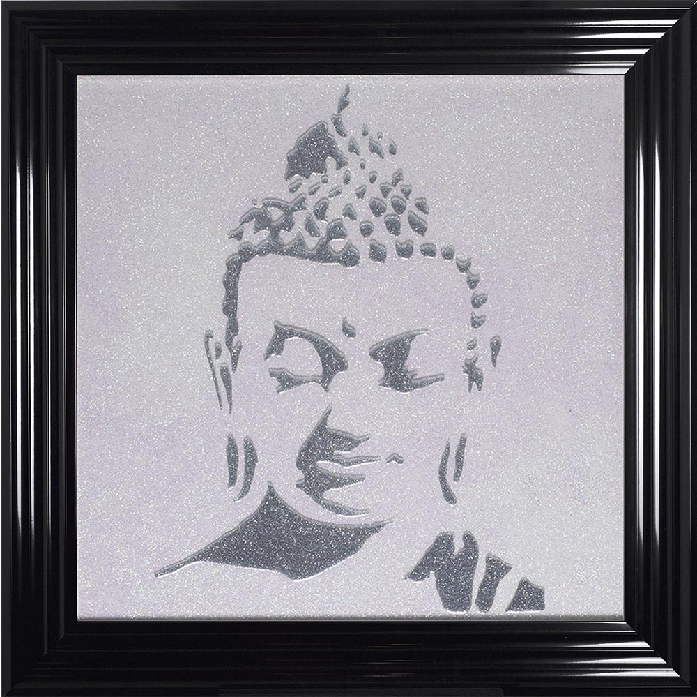 75 x 75 cm Framed Silver Buddha Silhouette. Various Frame Colours ...