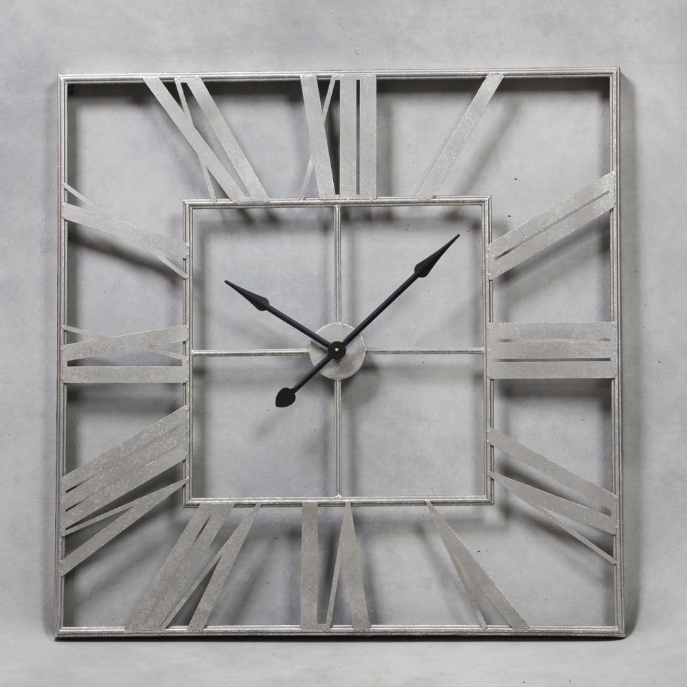 Large Square Silver Skeleton Clock The House In Town