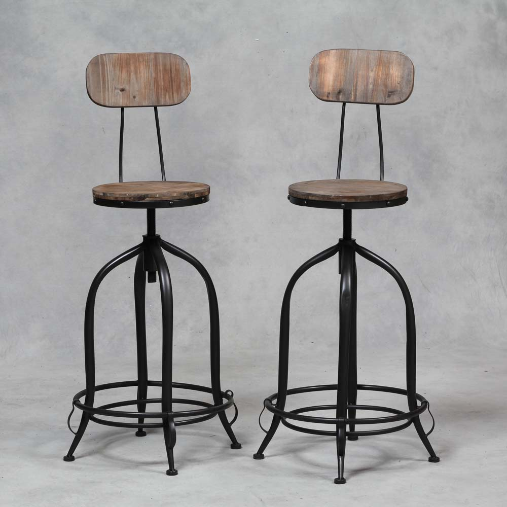 Pair of Industrial Iron and Wood Bar Stools with Back Rest  : IRN18 from www.houseintown.co.uk size 1000 x 1000 jpeg 98kB
