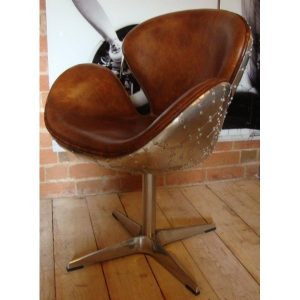 aviation-brown-leather-metal-chair