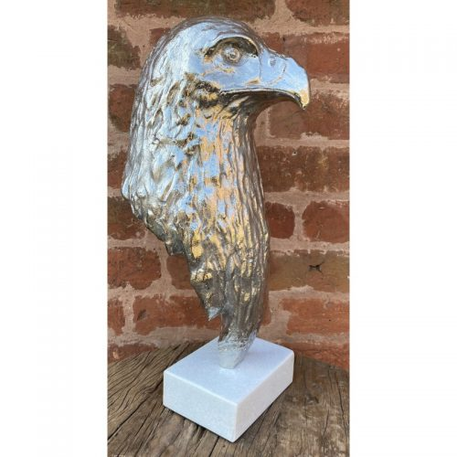 eagle-head-bust-sculpture-silver-nickel-plated-aluminium-marble-base