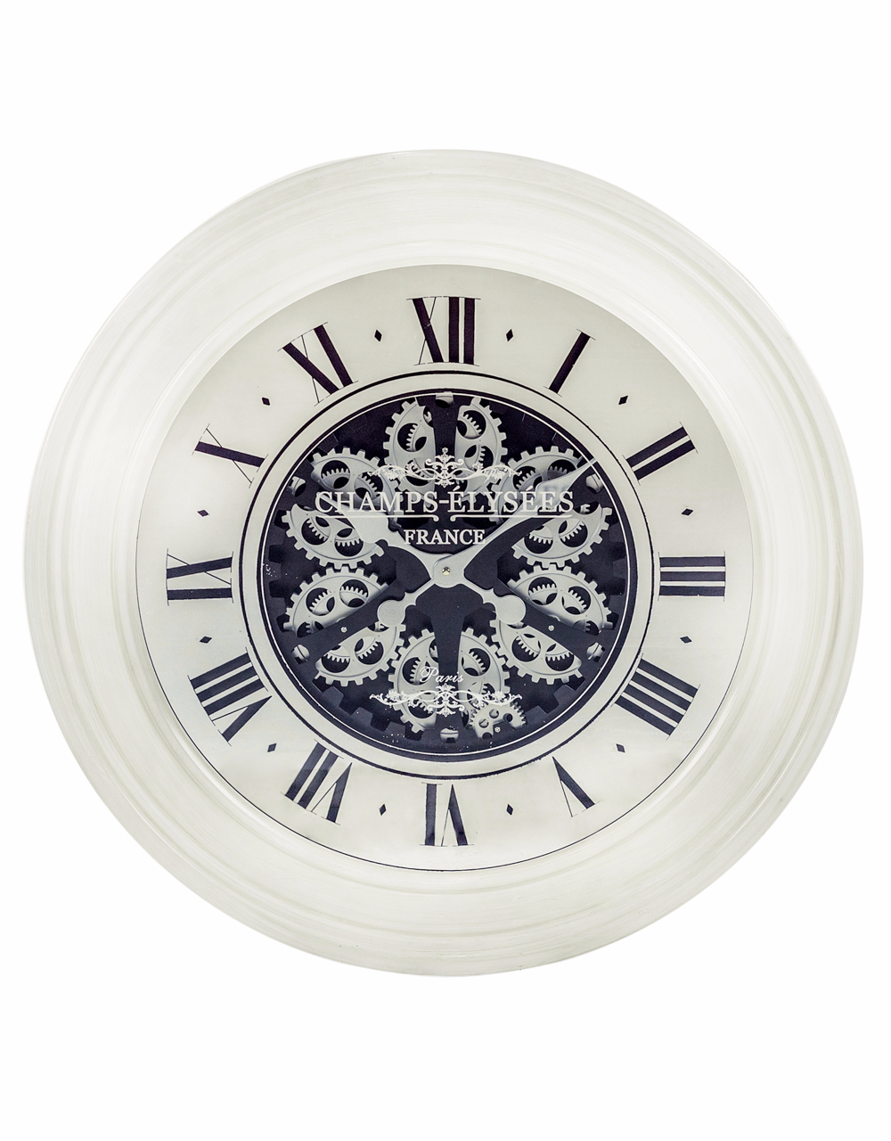 Antique Style Moving Gears Clock White With Mirrored