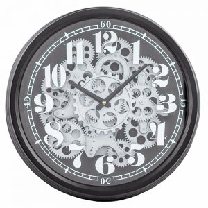 Black and Silver Moving Gears Clock